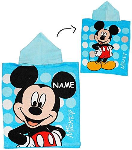 alles-meine.de GmbH Badeponcho -  Disney Mickey Mouse  - incl. Name - 50 cm * 115 cm - 4 bis 8 Jahre Poncho - mit Kapuze - Handtuch Strandtuch Baumwolle - Jungen Maus / Playhou..