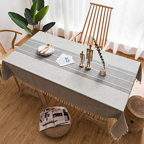 DJUX Simple and Modern Embroidered Tablecloth Pure Color Art Small Fresh Cloth Cotton Linen Tablecloth 140x220cm
