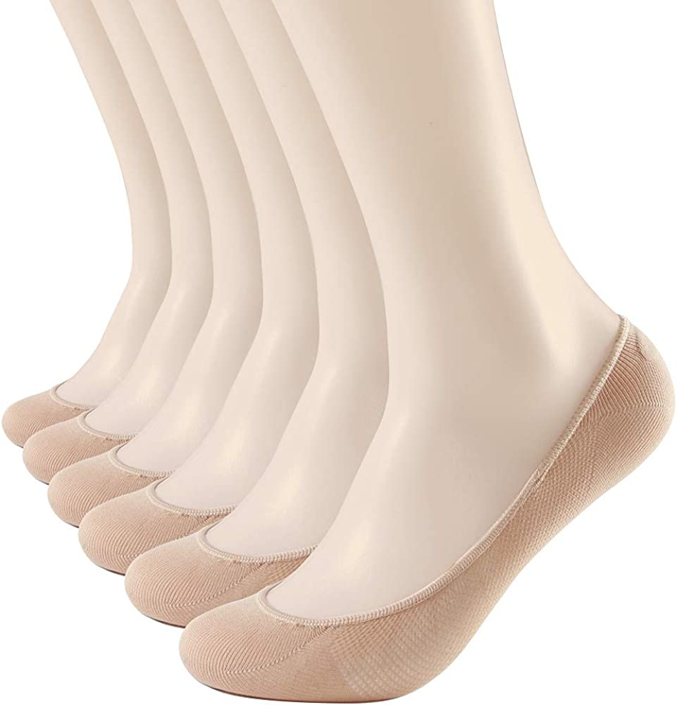 RSZ Women No Show Hidden Invisible Liner Socks with Non Slip Gels for Thin Flats Boat and Dress Shoes in Summer 6 Pairs