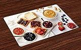 ABAKUHAUS Burro di Arachidi Tovaglietta Americana Set di 4, Panini su Bianco, Tovagliette in Tessuto Lavabile per Tavolo da Pranzo, Multicolore