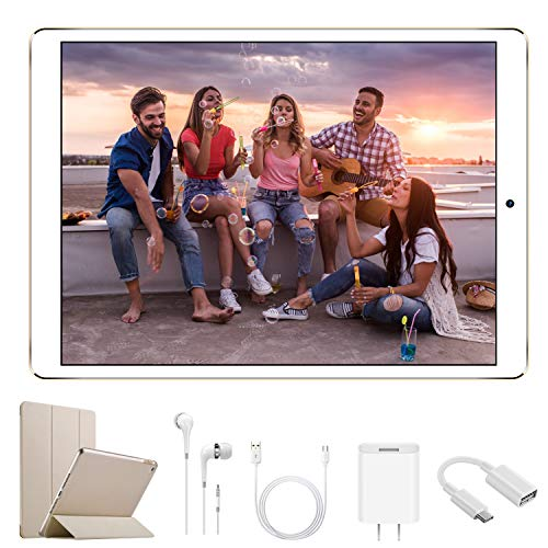 DUODUOGO G12 Tablet 10.1 inch, Dual SIM 4G/5G WiFi, IPS/HD 32GB ROM/3GB RAM Quad-Core 8500mAh Tablet PC, Dual 8MP Camera Android 8.1, Mediapad/Bluetooth/GPS/OTG Unlock Tablet with a Cell Phone