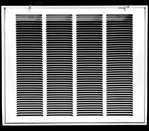 20' X 20' Steel Return Air Filter Grille for 1' Filter - Fixed Hinged - Ceiling Recommended - HVAC Duct Cover - Flat' Stamped Face - White [Outer Dimensions: 22.5 X 21.75]