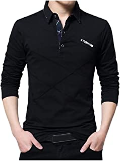 LEXUPA Men's t-shirts casual Men's Spring Casual Fashion Long Sleeved Lapel Button Cotton T-shirt Tops Blouse