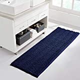 NICETOWN Door Mat for Dogs Muddys for Kitchen/Entryway, Navy Blue Bathroom Rug, Ultra Thick Soft Texture Chenille Plush Floor Mats Hand-Tufted Bath Rug with Non-Slip Backing (47 x 17)
