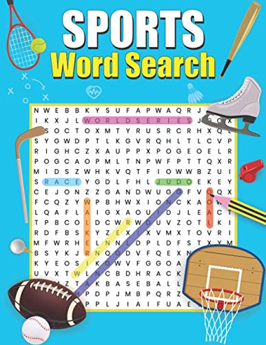 Sports Word Search: Large Print Word Search Book For Adult And Teens, Baseball, Basketball, Soccer, Hockey Puzzles Brain Game, Travel Gift.