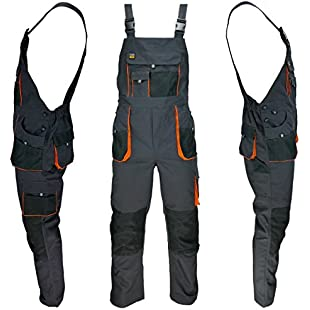 Work Bib and Brace Overalls, multipockets, knee pads pockets (50 (32 - 34 waist inches))