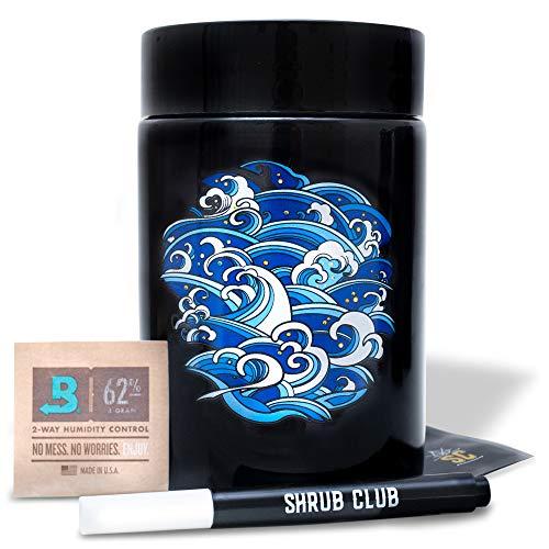 Geruchloses Gläser-Set, schwarzes Glas mit UV-Schutz, 250 ml, mit geruchssicherem Beutel und Bovida-Feuchtigkeitspackung, luftdichte Gläser für Frischaufbewahrung und Feuchtigkeitsschutz (Lotus) 500ml Wave