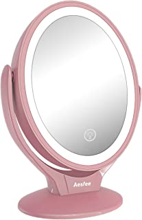 Aesfee LED Lighted Makeup Vanity Mirror Rechargeable,1x/7x Magnification Double Sided 360..
