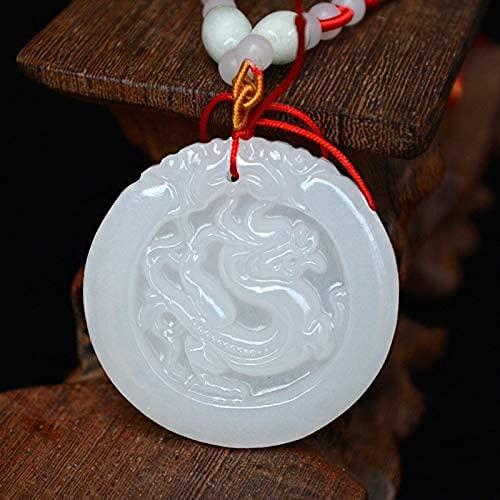 ZYLZL Colgante de Jades blanco natural de Afganistán, collar con colgante de dragón Animal Kirin, regalo para mujeres y hombres, joyería S