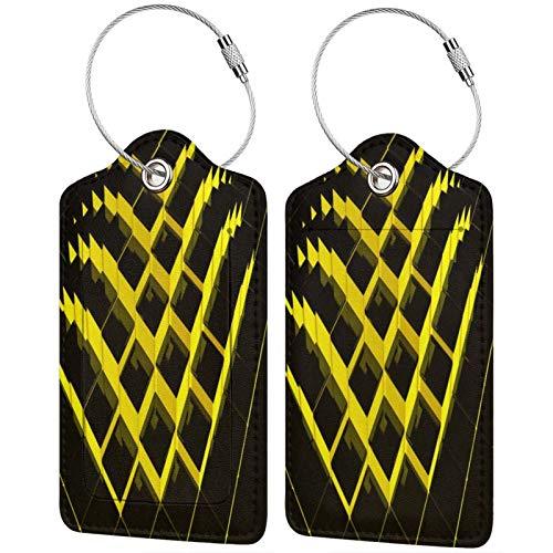 FULIYA Juego de 2 etiquetas de equipaje, de piel de alta gama, para maletas, tarjetas de visita, para bolsa de identificación, estructura, cubos, 3D, amarillo, negro