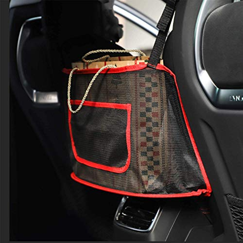 Car Net Pocket Handbag Holder Seat Back Net Bag for Purse Storage Phone Documents Pocket Barrier of Back Seat Pet Kids Cargo Tissue Holder