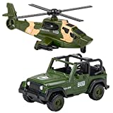ArtCreativity Military Toy Playset for Kids, 2-Piece, Includes 1 Helicopter Toy and 1 Jeep, Durable Die-Cast Army Toys for Kids, Pretend Play Set for Boys and Girls, Great Birthday Gift