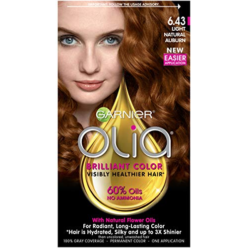Garnier Olia Ammonia Free Permanent Hair Color, 100 Percent Gray Coverage (Packaging May Vary), 6.43 Light Natural Auburn, Red Hair Dye, Pack of 1