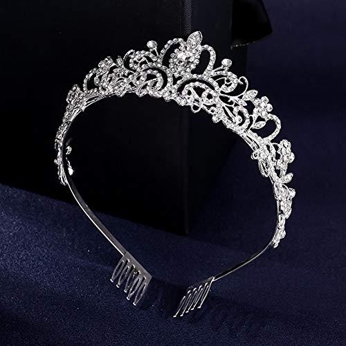 Surakey Corona de reina para boda, novia, con estrás, tiara, tiara de...