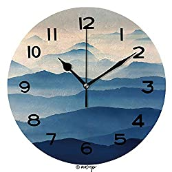 AmaUncle 10 inch Round Clock Foggy Landscape in The Romanian Carpathians Unique Wall Clock-for Living Room, Bedroom or Kitchen Use No32641