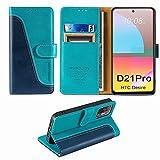 FMPCUON Handyhülle für HTC Desire 21 Pro 5G Hülle Leder,Premium Klapphülle Handytasche Flip Hülle Handy Hüllen Schutzhülle für HTC Desire 21 Pro 5G (6.7 Zoll),Blau/Grün