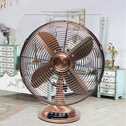 WJY Ventilador de Mesa, 35W 12in Ventilador Eléctrico Retro con 4 Cuchillas, Mudo Metal Ventilador Eléctrico de Escritorio, Tres Velocidades Ajustables, para El Dormitorio de La Oficina En Casa