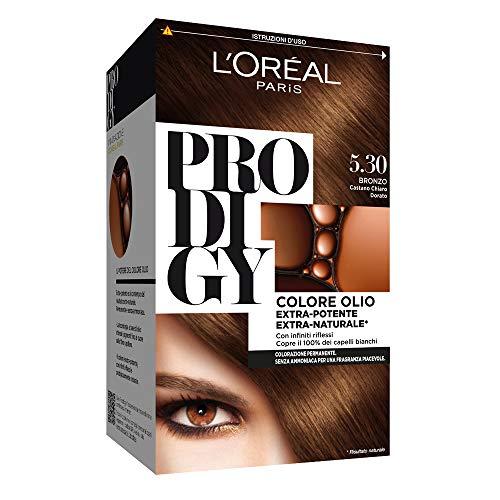 L'Oréal Paris Tinta Capelli Prodigy, Copertura Totale dei Capelli Bianchi, 5.3 Bronzo Castano Chiaro Dorato, Confezione da 1