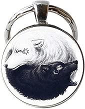 Yin Yang Wolf Sun and Moon Keychain, Women Dress Jewelry