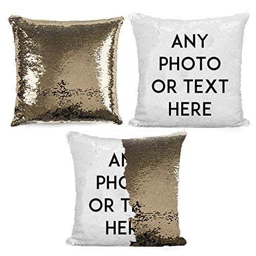 Bangoo Custom Sequin Pillow Cases with Your Photo, Magic Reversible Throw Pillowcases Decorative Cushion Pillow Cover for Home Couch Decor (Golden)