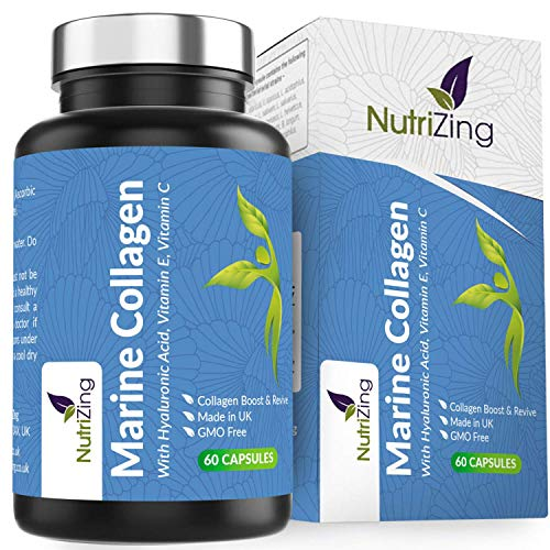 Premium Marine Collagen Capsules Enhanced with Vitamin C + Vitamin E + Hyaluronic Acid. Superior Potency & High Bioavailability. Made in UK by NutriZing. Supports Collagen Formation for Skin