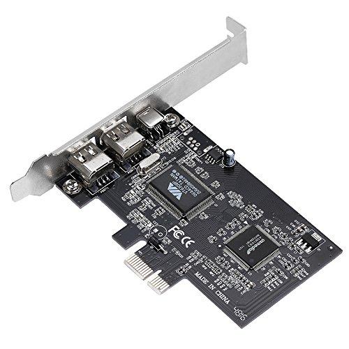 KKmoon Firewire Erweiterungskarte, PCI-E 3 Anschlüsse 1394a 1394b PCI-Express Controller-Karte (2 * 6 Pin + 1 * 4 Pin) für Desktop PC