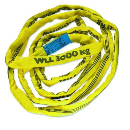 Braun GmbH 30031RS Rundschlinge 3000 kg Tragkraft, 3 m Umfang, endlos mit Polyesterkern, gelb, 1,50 Meter Nutzlänge