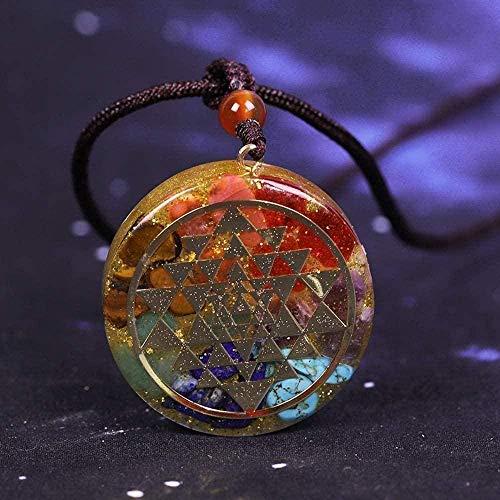 LDKAIMLLN Co.,ltd Collar Colgante de Moda Collar 7 Chakra Reiki Yoga Collar Geometría Sagrada Meditación Joyería Colgante Collar Regalo para Hombres Mujeres Niñas Niños