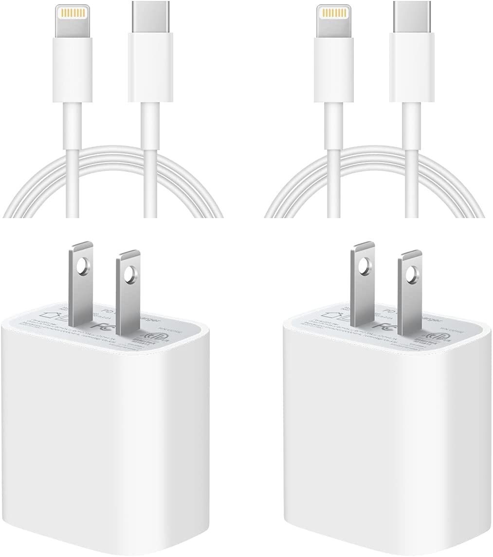 iPhone 12 13 Charger [Apple MFi Certified] 2-Pack USB C Wall Charger Fast Charging 20W PD Adapter with 6FT Type-C to Lightning Cable Compatible iPhone 13/13 Pro Max/12/12 Pro Max/11/11Pro/XS/X/8Plus