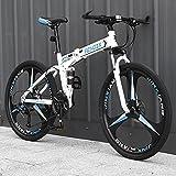 Bicicletas de Montaña Bicicleta de montaña plegable de 26 pulgadas con suspensión completa,Bicicleta de montaña para hombres de 30 velocidades con doble freno de disco,Bicicleta ur(Color:blanco azul)