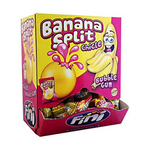 1 Box Fini Banana Split Banane Chicle + Gum 200er Kaugummi Bonbons einzeln verpackt