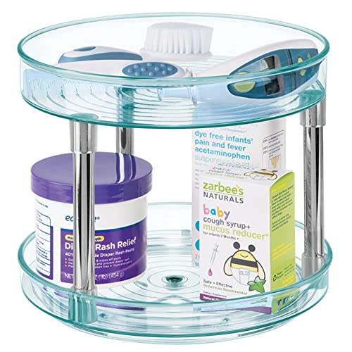 mDesign Especiero giratorio de dos niveles – Práctico estante especiero para armario de cocina o encimera – Organizador de plástico para especias – azul claro/transparente