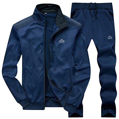 Homme Manches Longues Vertical Col Zipper Veste Sweat-Shirt Jogging Pantalons Survêtement 2 Pièces Bleu Foncé L