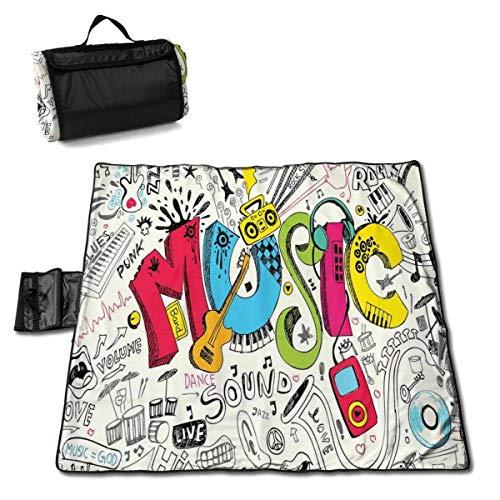 GuyIvan Picknickdecke Musik Pop Art Doodle Style Waschbar Große Picknick- und Stranddecke Handliche Matte