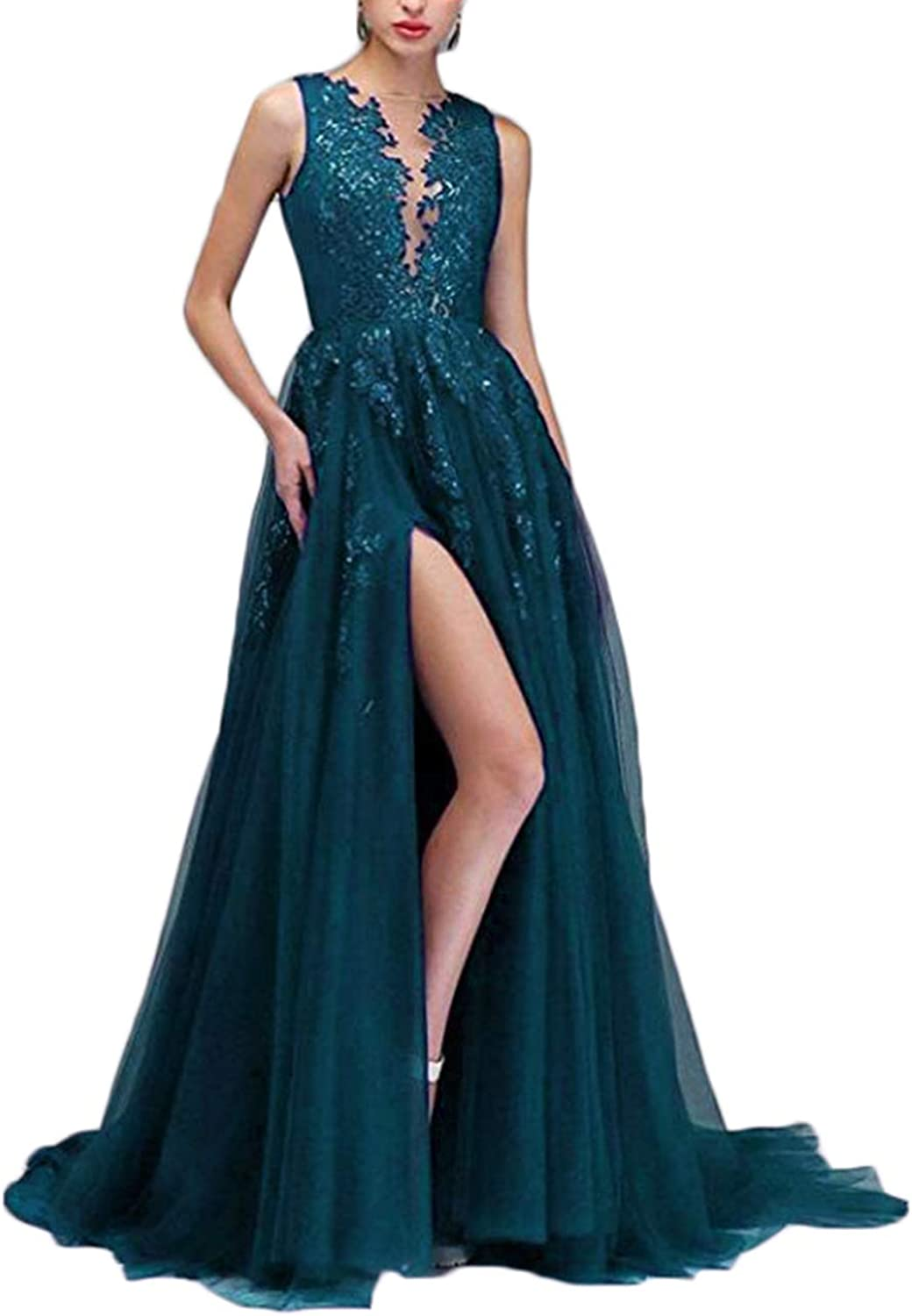 Alilith.Z Sexy Side Slit Prom Dresses 2019 Long Sequins Lace Appliques Party Gowns Formal Dresses for Women Evening Ball