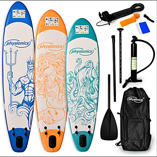 Physionics® Stand Up Paddle Board - 305/320/366cm Aufblasbar, Verstellbares Paddel, Handpumpe mit Druckmesser, Rucksack, Farbwahl - SUP, Paddling Board, Surfboard (305 x 76 x 12 cm, Octopus Blau)