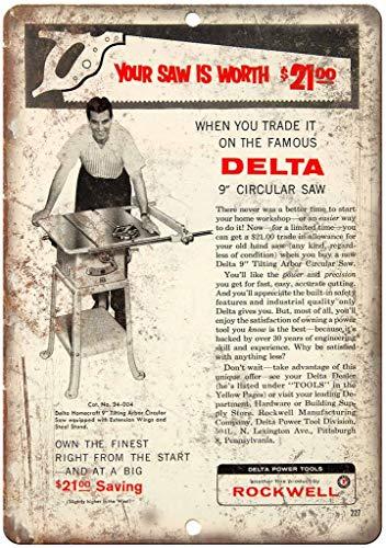 not Delta Power Tools Rockwell Kreissäge, Metallplakat Blechschild Wandschild Eisen Malerei Warnschild Wandschild Dekoration für Bar Café Hotel Büro Zuhause Garten