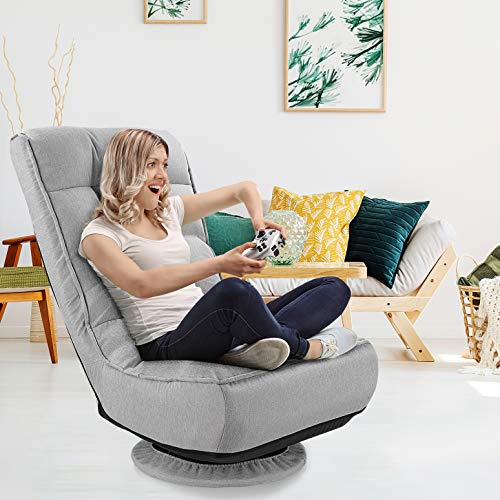 kealive Floor Gaming Chair,360 Degree Swivel Floor Chair, 4-Position Adjustable Gaming Floor Chair, 330lb Spring Support, Comfortable Folding Floor Chair for Adults, Teens, Kids, Grey