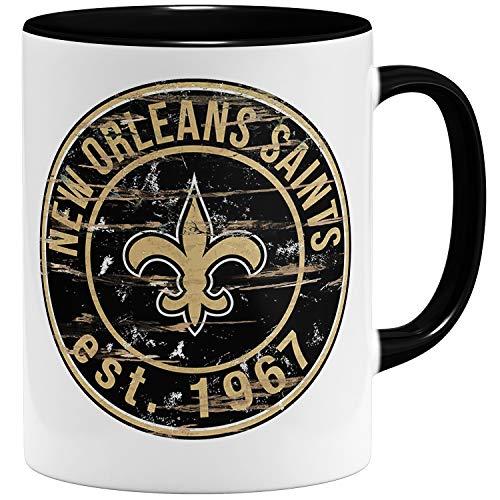OM3® New Orleans Badge Tasse   Keramik Becher   11oz 325ml   American Football Mug   Schwarz