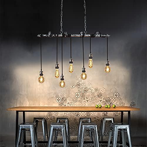 ZMH Vintage Pendelleuchte Hängelampe Retro Hängeleuchte esstisch Höhenverstellbar 91CM Metallrohr industrielle Esstischlampe Wasserrohr 7 Flammige E27 für Esszimmer Küche Bar Restaurant