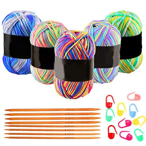 SNY Fil de Crochet Coton Multicolore, Fils à Tricoter en Laine Fil de Laine à Tricoter à Main Fil de Tissage Fil de Crochet Lot de Fil à Crochet Multicolore, Mini Projets de Tricot et de Crochet