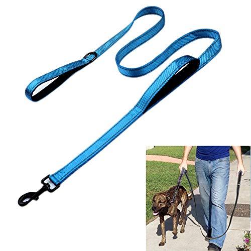 Bacoby 3M reflektierende Hundeleine, 1,5 m lang, mit gepolstertem Griff, strapazierfähig, Doppelgriff-Leine für mehr Kontrolle und Sicherheitstraining, perfekt für große oder mittelgroße Hunde, blau