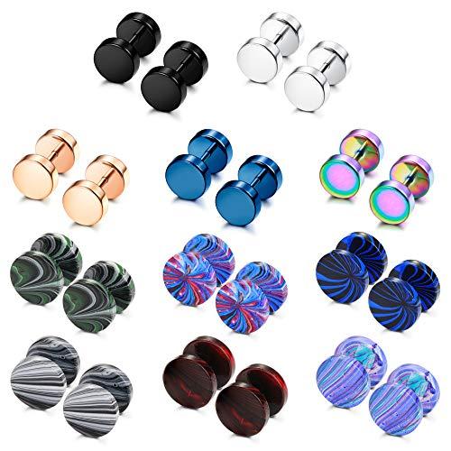 YADOCA 11 Pairs Stainless Steel Mens Womens Stud Earrings Set Ear Piercing Plugs Tunnel Fake Ear Gauge Barbell Screw Stud Flat Back 16G 18G