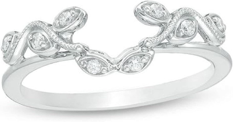 0.10 Ct Round Fashionable Cut Super-cheap Created Diamond Guard Solitaire Enhancer Ring