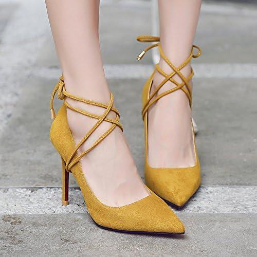 Xue Qiqi chaussures à talons hauts avec des talons hauts fille lumière fine-sauvages avec le bout noir satiné dans le simple dames chaussures,38, jaune 9 cm