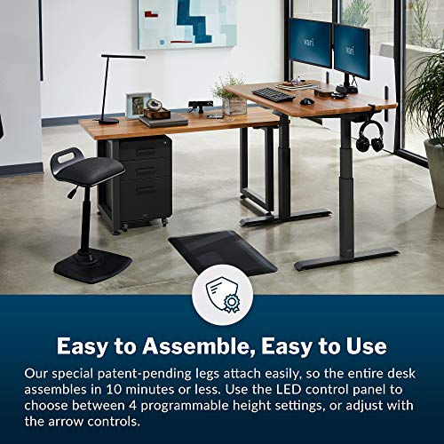 """Vari Electric Standing Desk 48"""" x 30"""" - Dual Motor Sit to Stand Desk - Push Button Memory Settings - Solid Top with 3-Stage Adjustable Steel Legs - Work or Home Office Desk"""