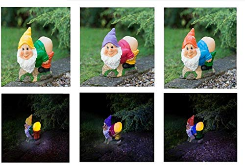 Amazing New Unique Solar Garden Mooning Gnome Statue Ornament with Rechargeable Battery and Automatically Switches Ideal For Outdoor Garden, Park ,Yard patios ,Decorations -Assorted