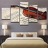 5 Piezas Lienzos Cuadros Pinturas Partitura De Violín Y Música Impresiones En Lienzo Decoración Para El Arte De La Pared Del Hogar, Salón Oficina Mordern Decoración Artística 60 × 32 Pulg.