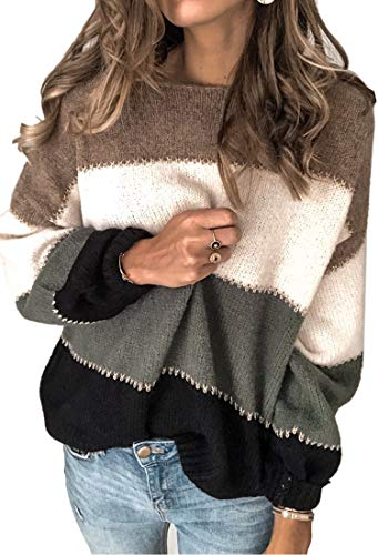 Angashion Women's Sweaters Casual Long Sleeve Crewneck Color Block Patchwork Pullover Knit Sweater Tops Grey S