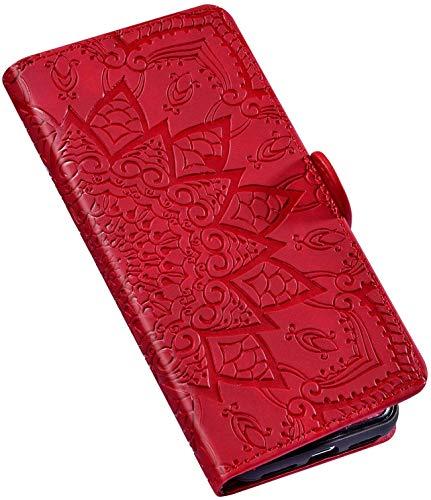 QPOLLY Coque Compatible avec Huawei P30 Lite, Fleurs Design Cuir PU Portefeuille Flip Etui à Rabat Stand Support Case Fermeture Magnétique Porte Cartes Housse de Protection,Rouge